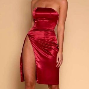 Meshki Alayna Satin Mini Burgundy Dress NWT